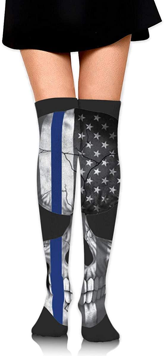 Knee High Socks Blue Thin Line Skull Women's Athletic Over Thigh Long Stockings