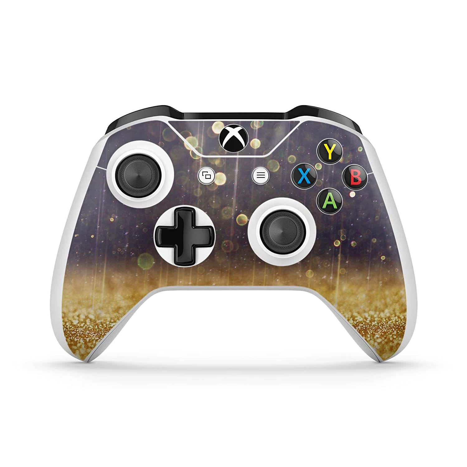 Raining Gold and Purple Sparkle - Protective Vinyl DesignSkinz Decal Sticker Skin-Kit for the Microsoft Xbox ONE / ONE S Controller