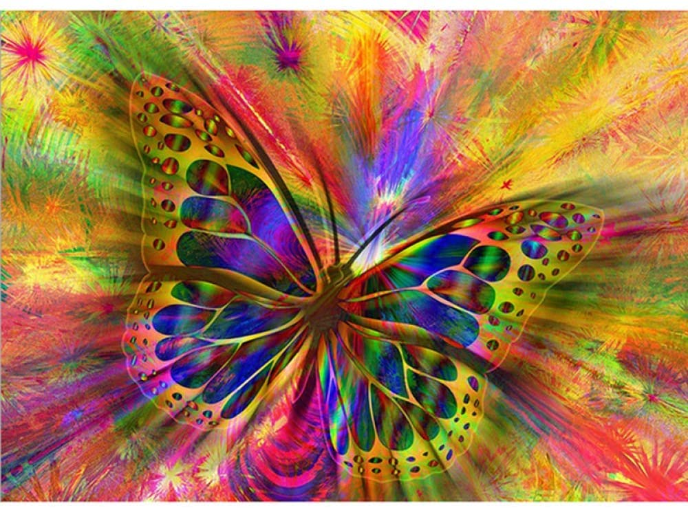 DCPPCPD 5D DIY Diamond Painting, Animal Color Butterfly Kits for Adults Full Drill Crystal Rhinestone Embroidery Cross Stitch Arts Craft Canvas