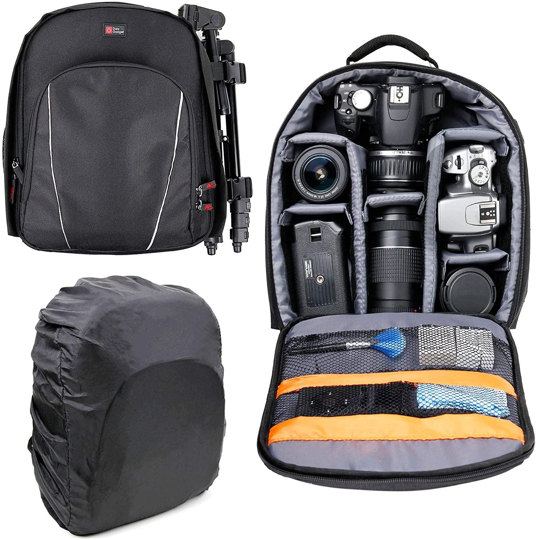DURAGADGET Black Water-Resistant Backpack w/Raincover - Compatible with Contour Roam | Roam 2 | Roam-Plus2 /Oregon Scientific ATC 5K | Mini | ATC 9K /Drift HD & Ghost