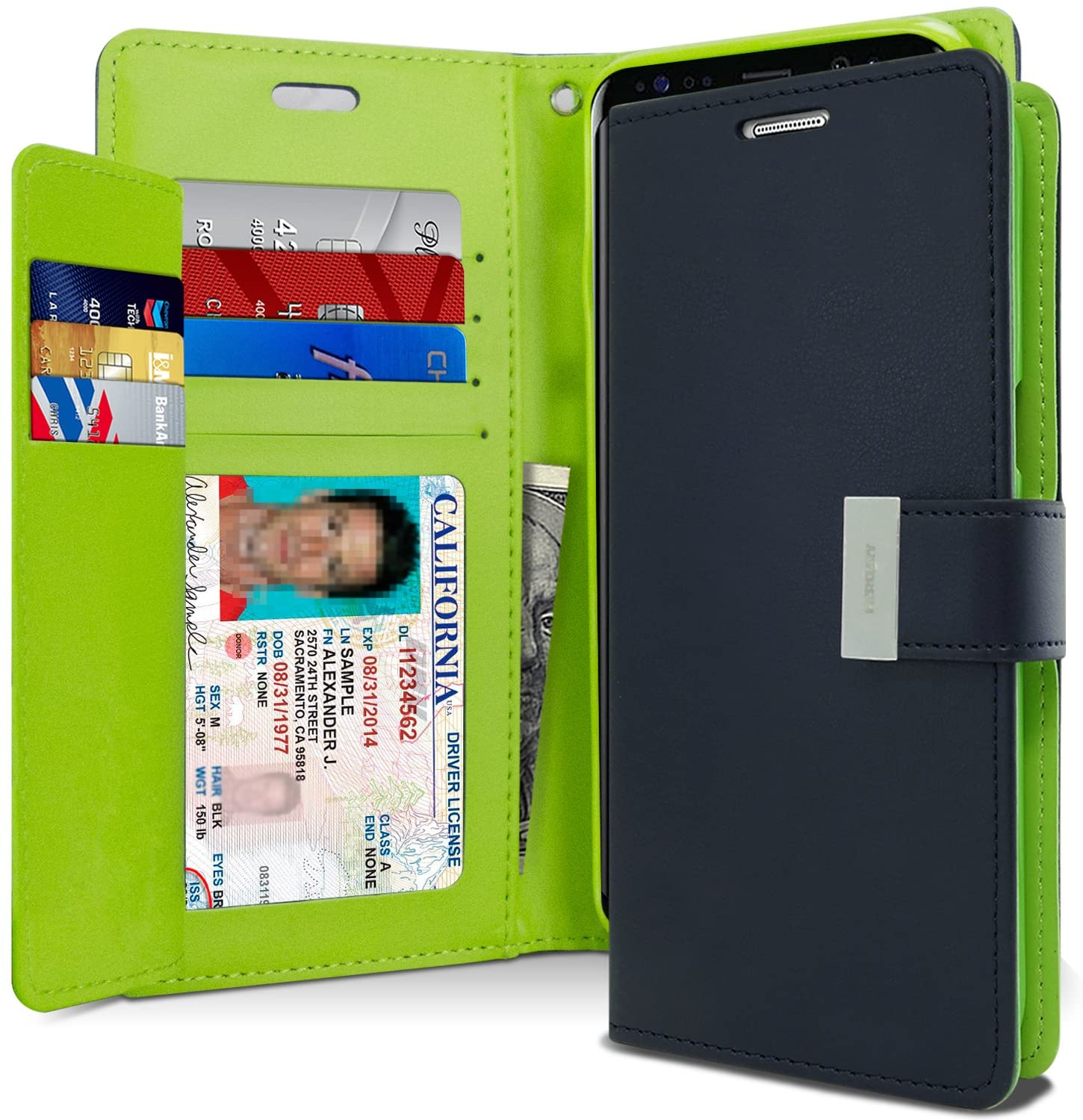 Goospery Rich Wallet for Samsung Galaxy S8 Plus Case (2017) Extra Card Slots Leather Flip Cover (Navy) S8P-RIC-NVY