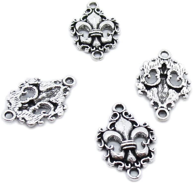 70 PCS Antique Silver Tone Jewelry Making Charms Crafting Wholesale Supplier AA3805 Fleur De Lis Iris Lily Connector