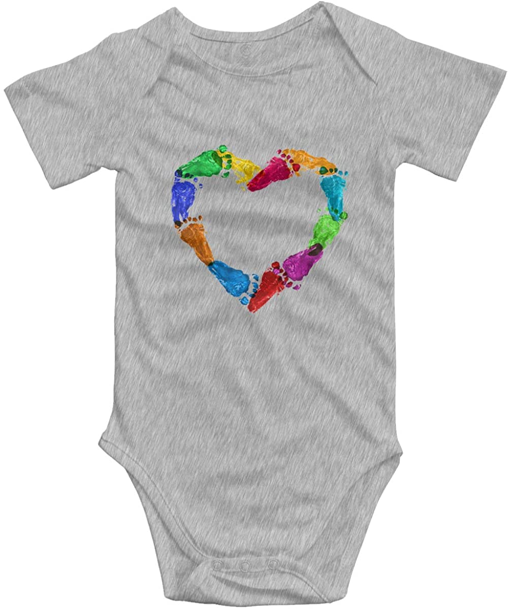 MARTHLORES Baby Cotton Short-Sleeve Bodysuit Heart of Baby Footprint Funny Infant Onesies