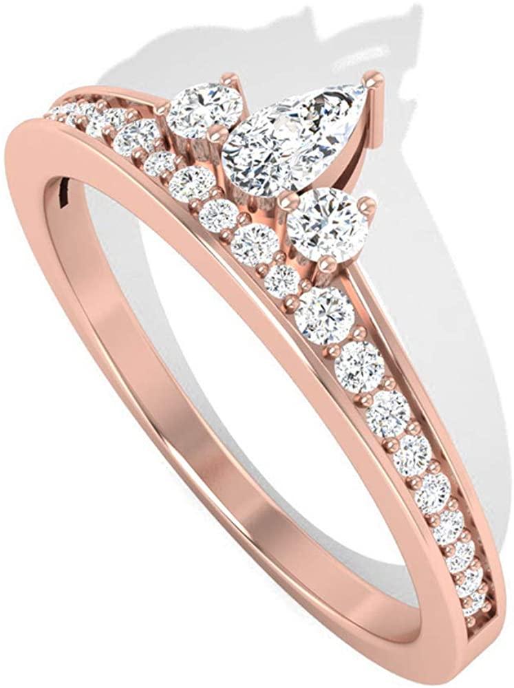 Minimalist Crown IGI Certified Diamond Wedding Ring, Pear Round IJ-SI Diamond Engagement Rings, Tiara Wedding Bridal Anniversary Ring Gifts for Women, 14K Rose Gold, Size:US 9.5