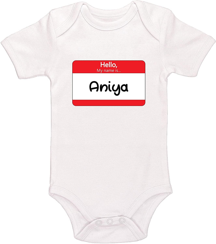 Kinacle Hello My Name is Aniya Personalized Baby Bodysuit