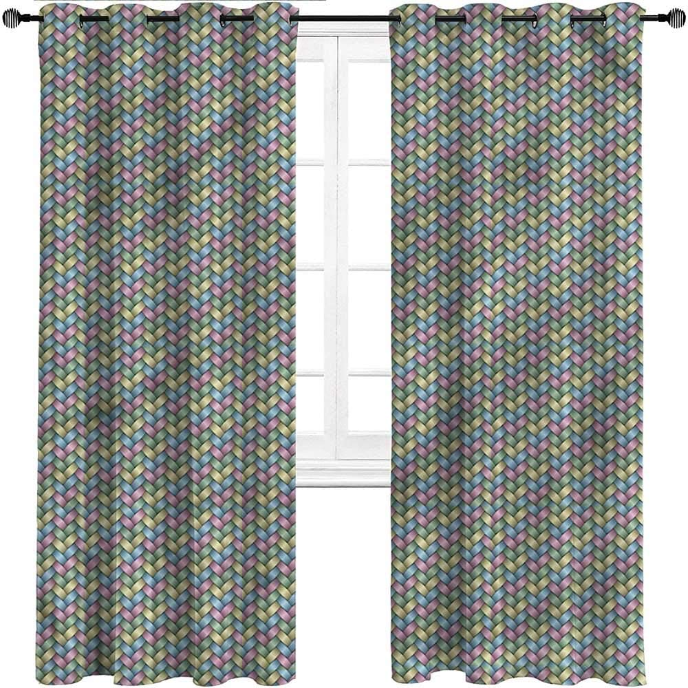 carmaxs Curtains for Living Room Abstract Grommet Drapes for Patio Pergola Porch Deck Crossed Color Stripes,Set of 2 Panels, 108 Width x 108 Length