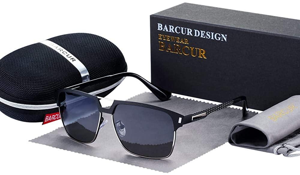 BARCUR Black HD Polarized Sunglasses Men Driving Sun Glasses for Man Shades Eyewear With Box