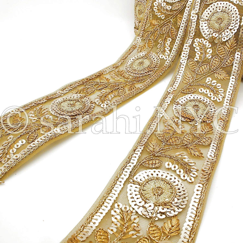 Gold Sequin Floral Ribbon Fabric Trim - Sarahi.NYC