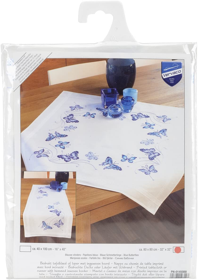 Vervaco Blue Butterflies Tablecloth Stamped Embroidery Kit, 32