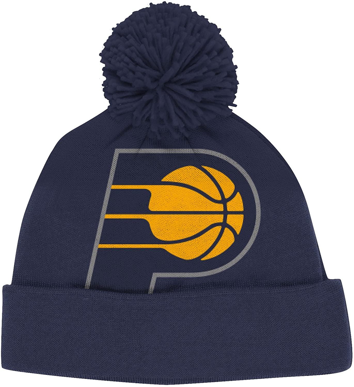 adidas Indiana Pacers Solid XL Logo Cuffed Pom Knit Beanie Hat/Cap