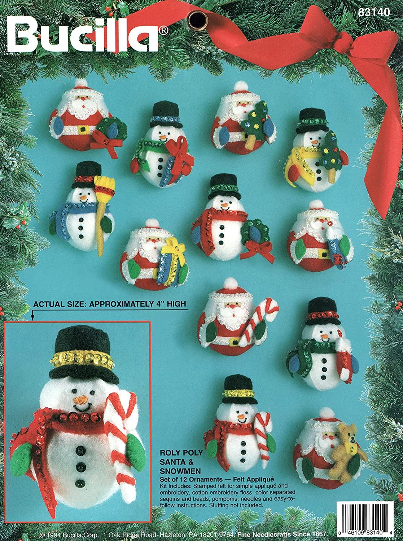 Bucilla Roly Poly Santa Claus and Snowmen Set of 12 Ornaments Felt Applique Kit