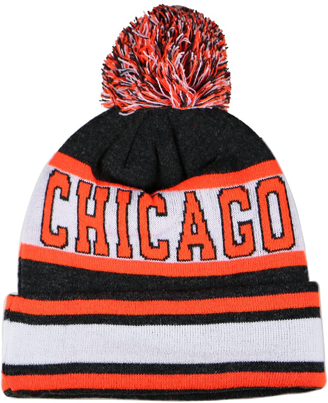 City Hunter Sk1130 Chicago Stripes Pom Pom Beanie Hats - Dark Grey/orange
