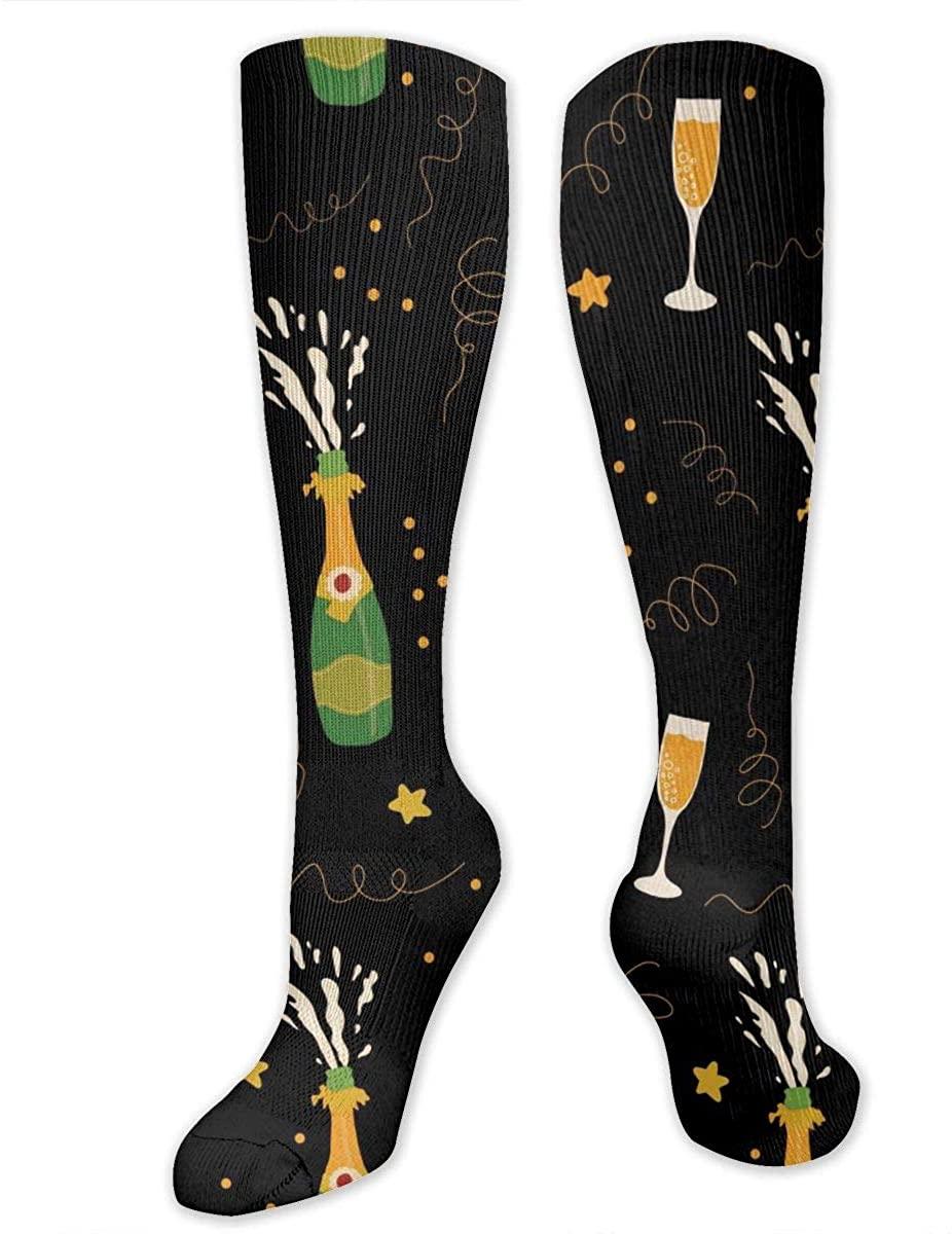 Knee High Socks For Men Women Champagne Beer Drink Yoga Hose Stockings