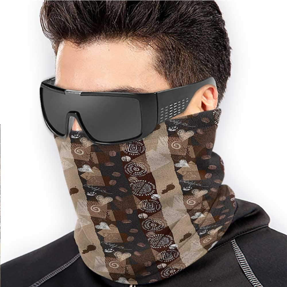 Neck Gaiter Brown For Men Women Outdoors/Festivals/Sports Coffee Typo Hearts Beans 10 x 12 Inch