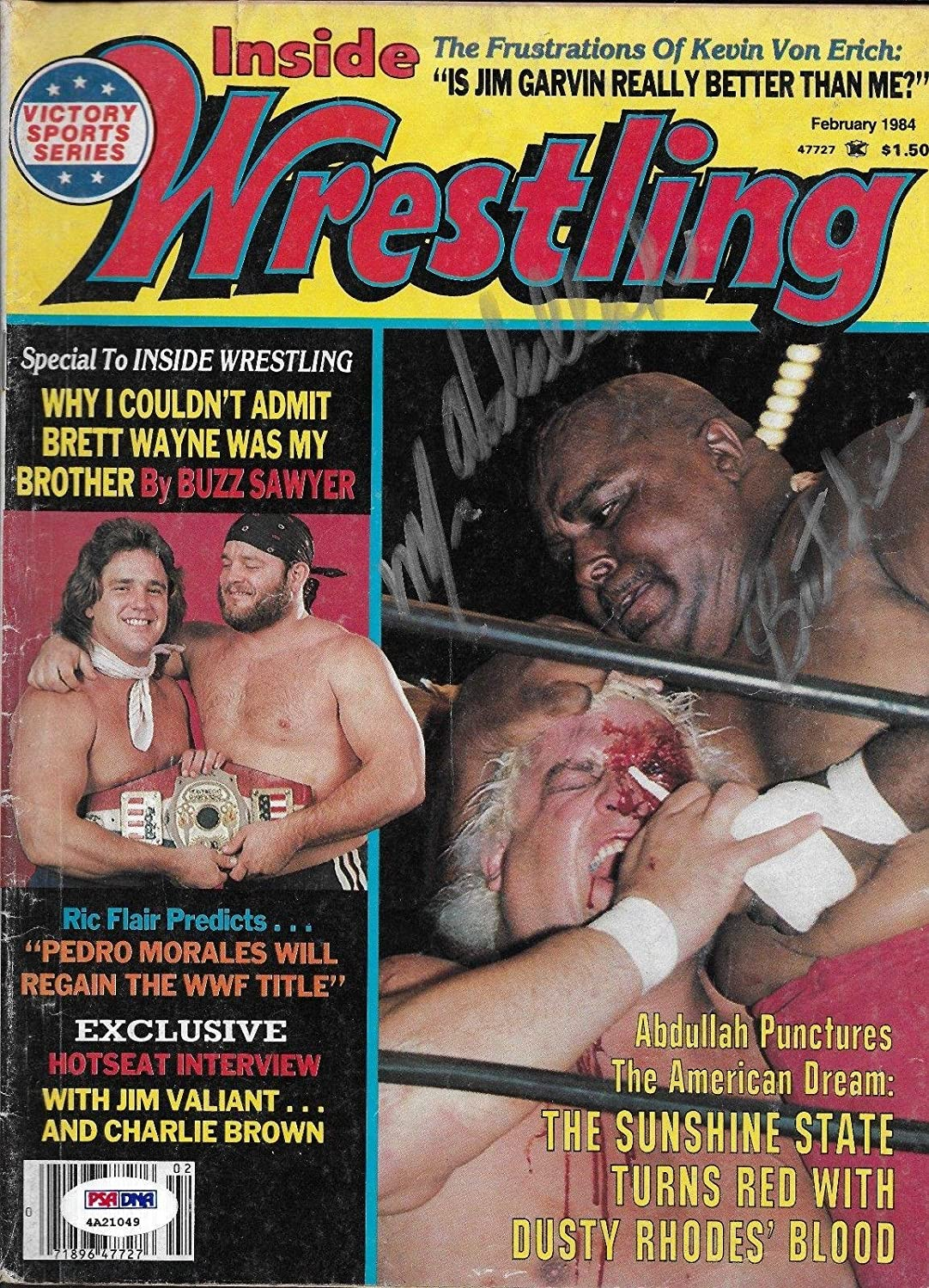 Abdullah the Butcher Signed Inside Wrestling Magazine PSA/DNA COA WWE Autograph - Autographed Wrestling Miscellaneous Items