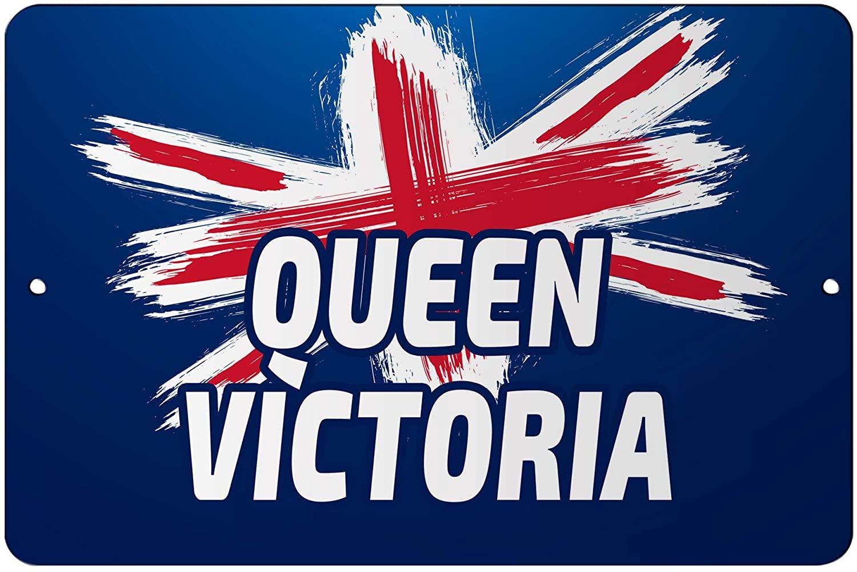 Makoroni - Queen Victoria British England UK Flag 12x18 inc Aluminum Decorative Wall Street Sign