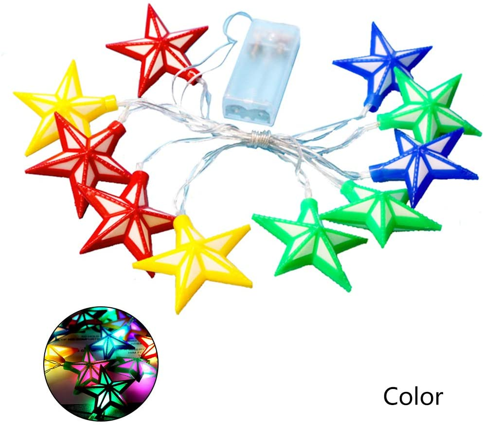 minansostey Four Color Pentagram Shape String LED Light Eid Ramadan Islamic Battery Supply