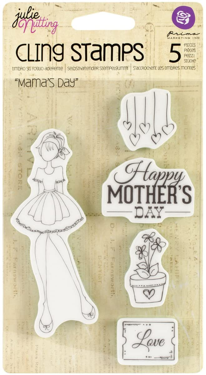 Prima Marketing Julie Nutting Mixed Media Cling Rubber Stamps, 4-Inch by 6-Inch, Mama's Day
