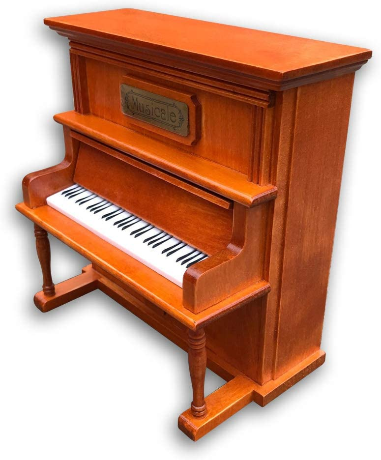 Play (My Heart Will Go On) Wooden Upright Piano Music Box with Sankyo Musical Movement (Brown)
