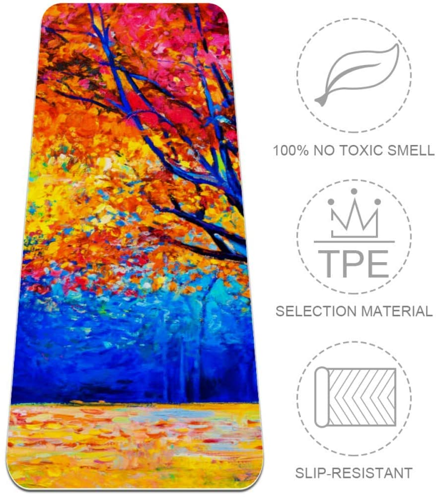 Autumn Trees Repose Eco-Friendly and Natural Rubber Travel Yoga Mat for Earth and Health.Non-Toxic, for Hot Yoga, Pilates and Exercise on The go. Yoga mat Strap Included.