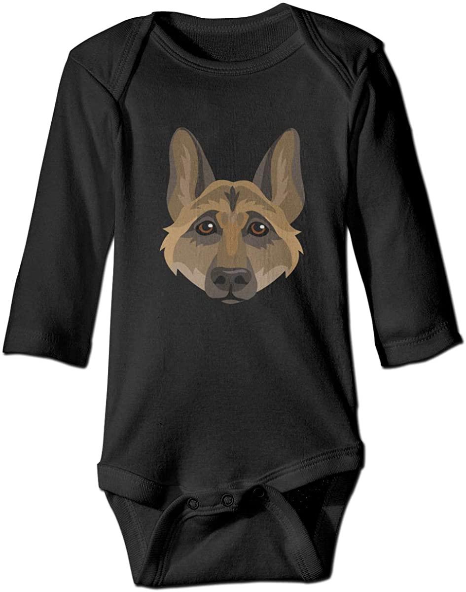 YOIGNG German Shepherd Dog Face Unisex Baby Bodysuit Infant Cotton Outfits Long Sleeve Jumpsuit