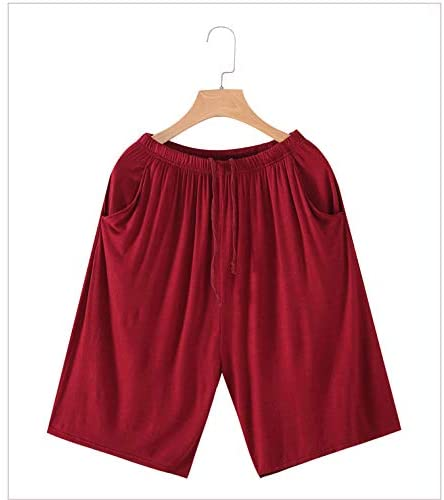 2018 Summer Men's Comfort Cozy Cotton Modal Jersey Shorts With Pockets,Summer Sleep Shorts Pajama Bottoms Lounge Homewear with Drawstring Redwine Simple Style (L(40KG-58KG))