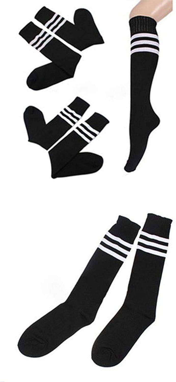 High Socks Over Knee Socking For Girls Womens Sexy Striped Cheerleader Striped Long Socks,Black,One Size