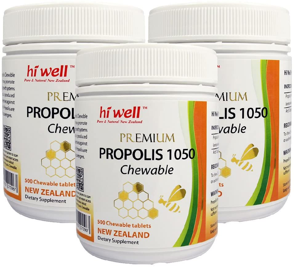 Hi Well Premium Bee Propolis 1050mg 500 Chewable Tablets New Zealand Bee Immune Support Vitamins Minerals & Antioxidants (Pack of 3)
