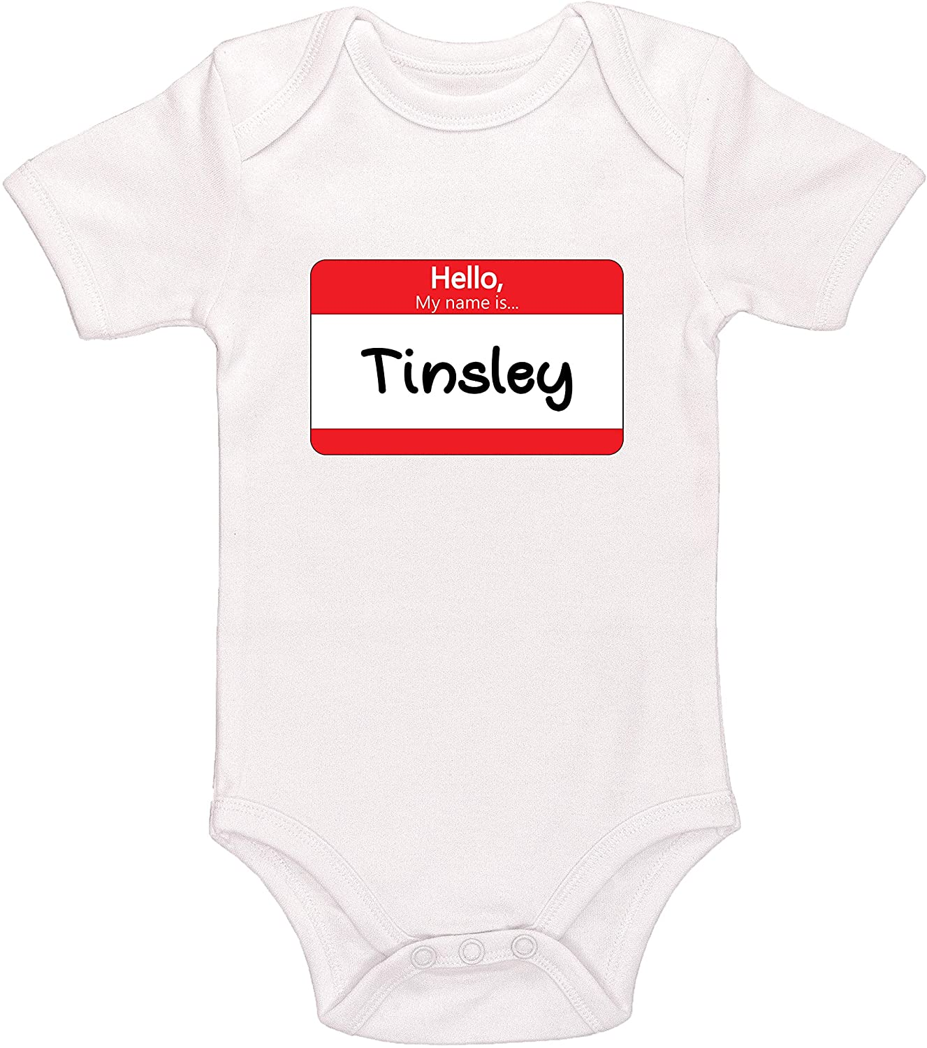 Kinacle Hello My Name is Tinsley Personalized Baby Bodysuit