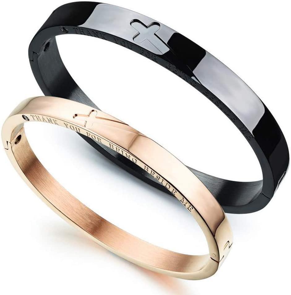 Jewelry, Titanium Steel Couple Bracelet Does Not Fade Retro Cross Classic Bracelet Ladies Couple Bracelet