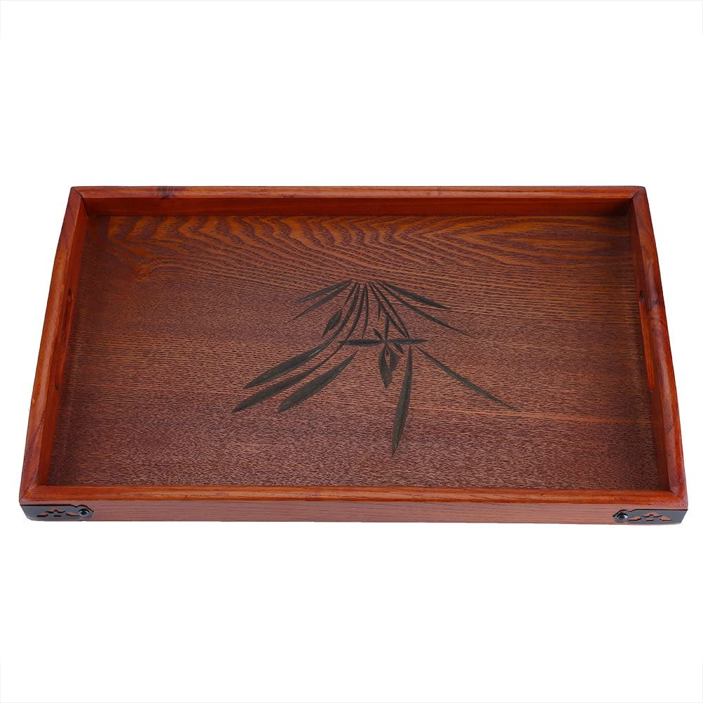 Wooden Tray Serving Tray Chinese Style 17.72 x 10.63x 1.18inch Wood Serving Tea Water Drinks Tray Orchid Pattern With Handle for Coffee Tea Serving Tray,Breakfast Tea