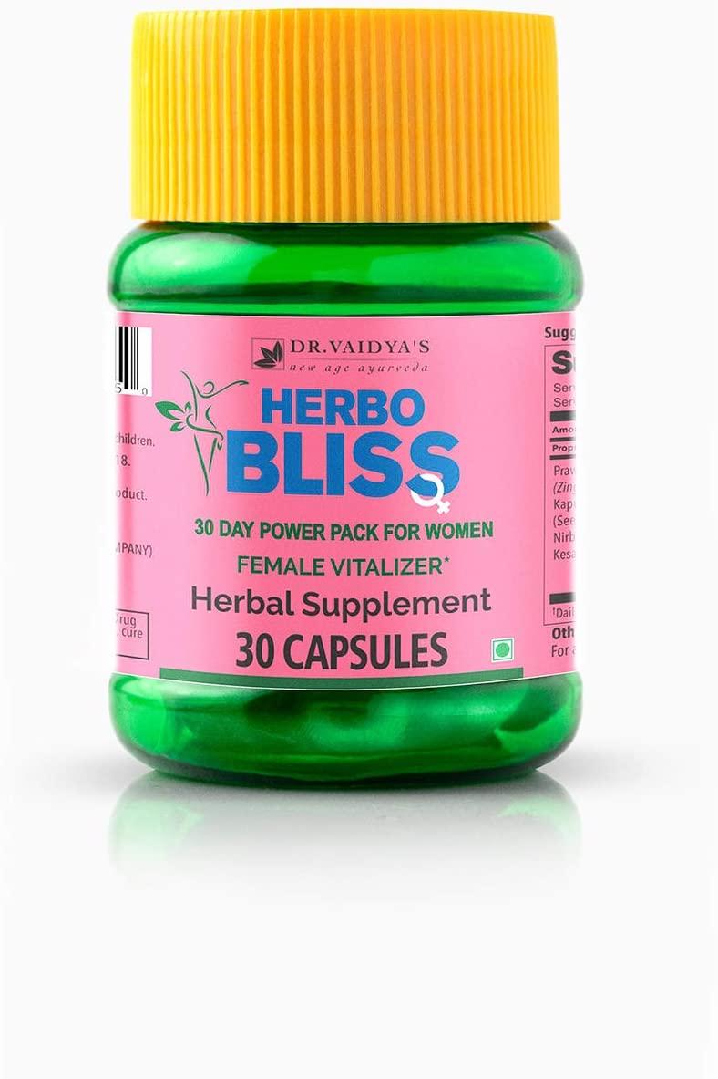 Dr. Vaidyas Herbobliss Ayurvedic Female Vitalizer Capsule | 100% Vegetarian | 250 Mg | Pack of 2 | 30 Capsules Each | 2 Months Supply