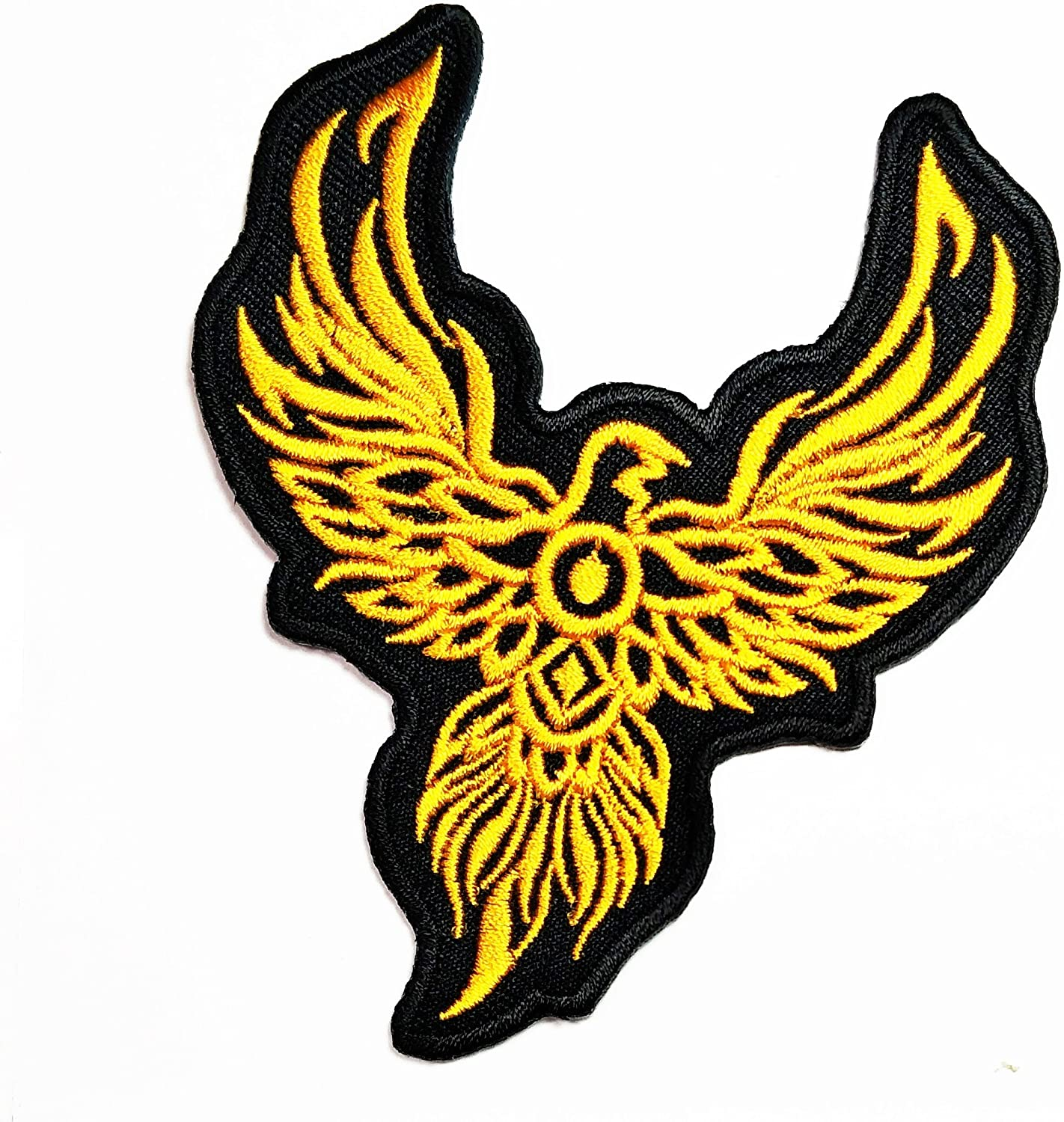 Beautiful Yellow Phoenix Tattoo Biker Embroidered Patch Ideal for adorning Your Jeans, Hats, Bags, Jackets and Shirts.