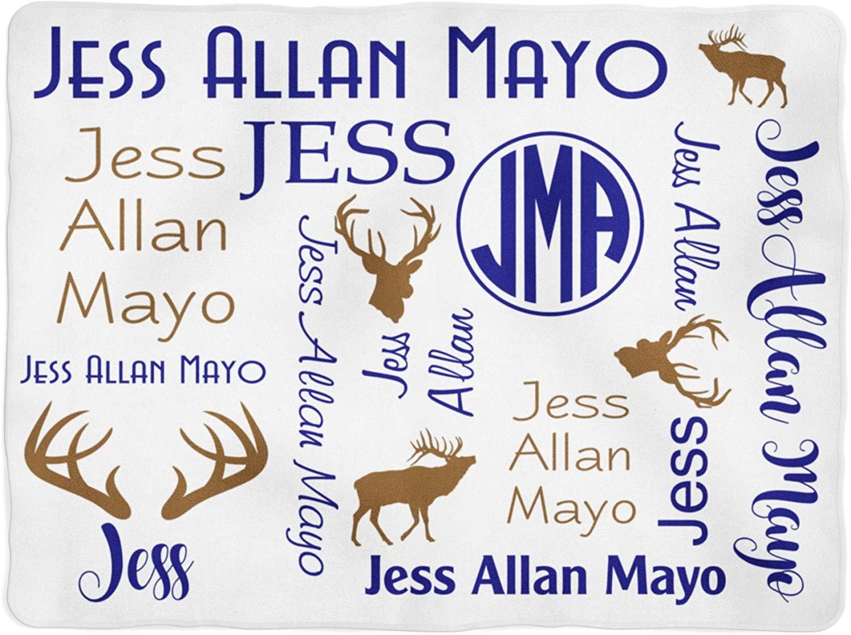 Deer Blanket - Personalized Baby Blanket - Antler Blanket - Monogram Swaddle Blanket - Monogrammed Name (30x40) White