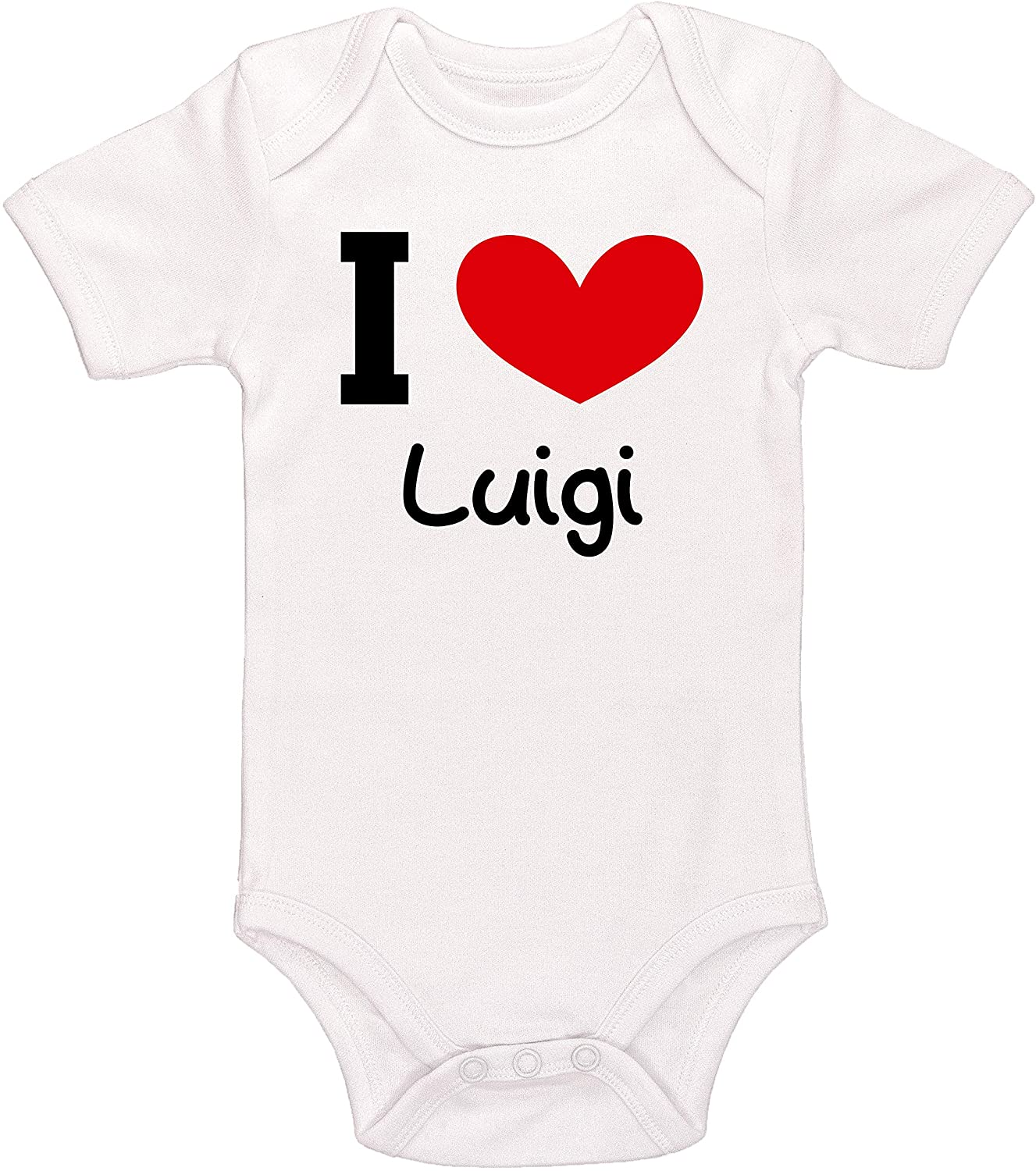 Kinacle I Love Luigi Personalized Baby Bodysuit