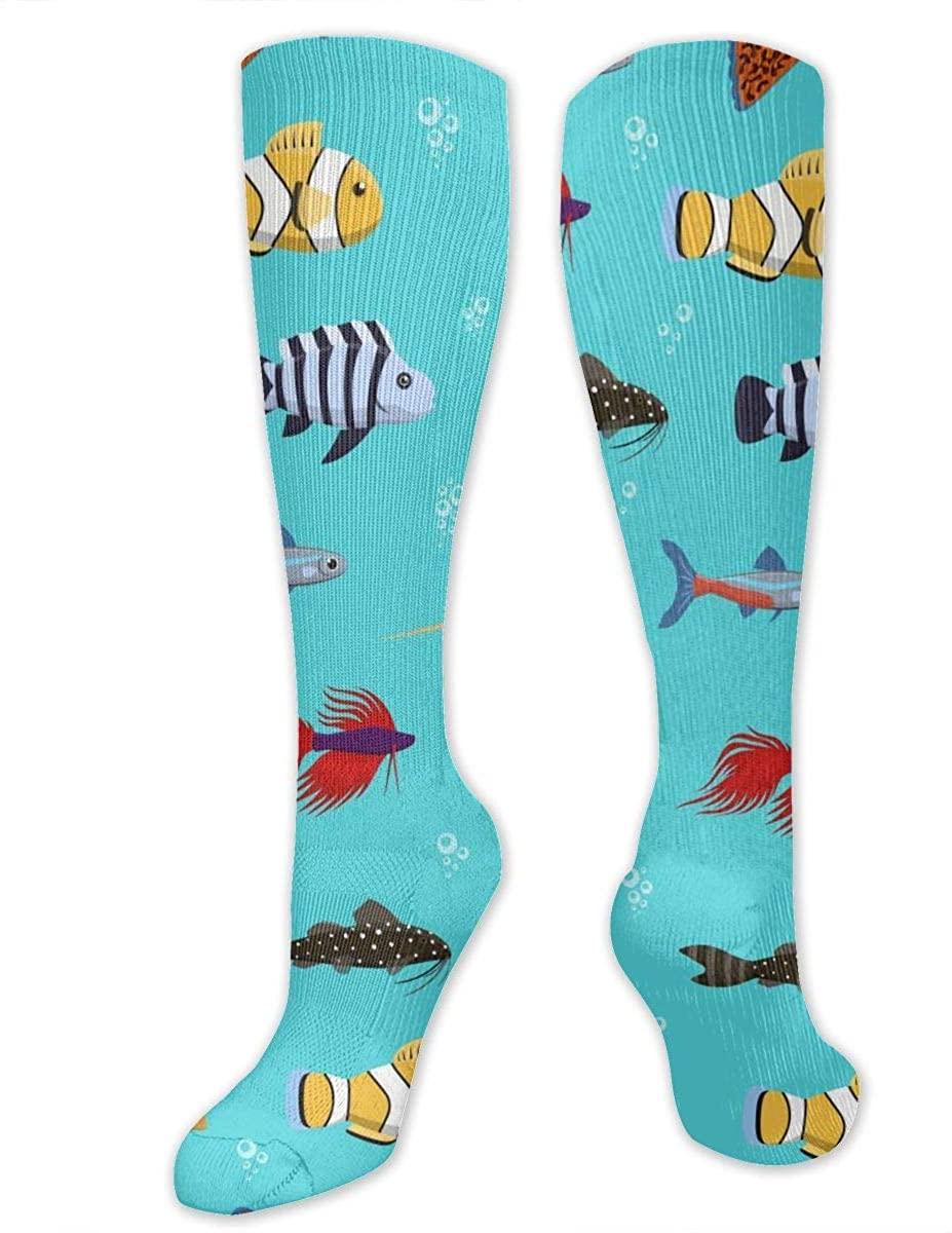 Knee High Socks For Men Women Sea Fish Clownfish Workout Hose Stockings