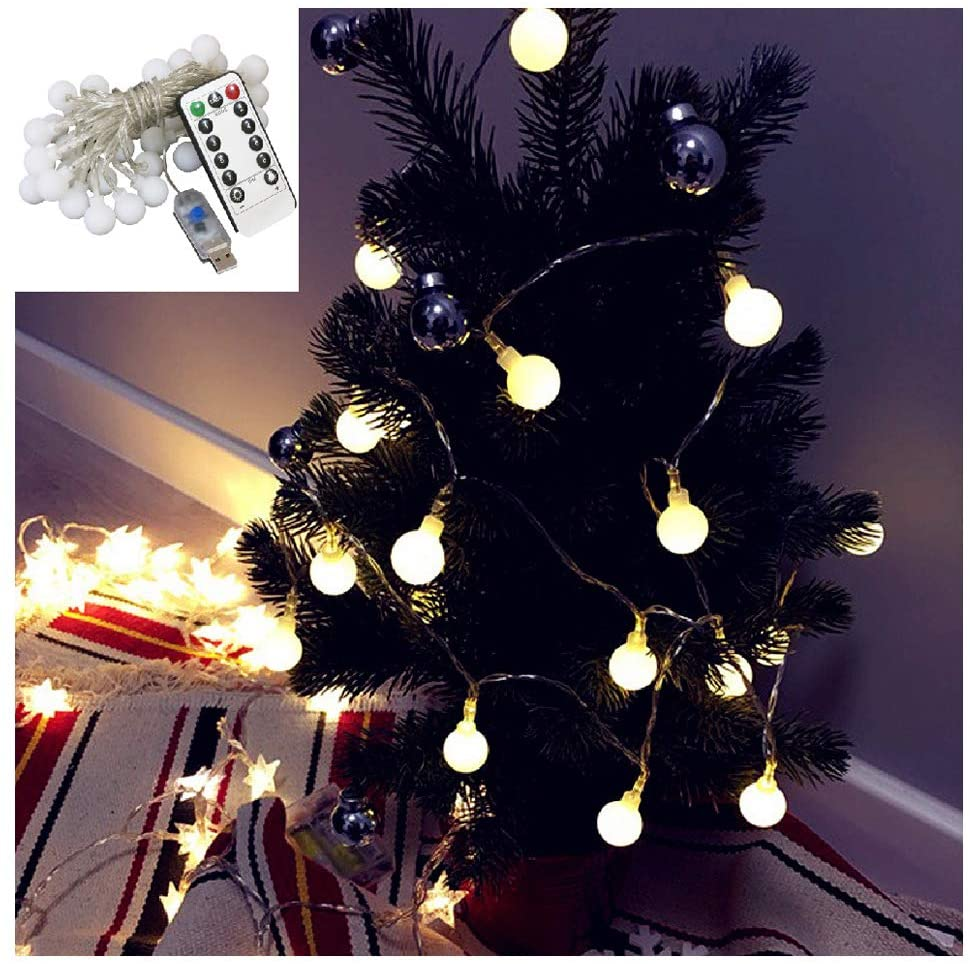 Bloomwind LED String Light, Led Waterproof Ball Lights, USB Power, 8 Lighting String Lights Bedroom, Garden, Christmas Tree, Wedding, Party(Warm White Color)
