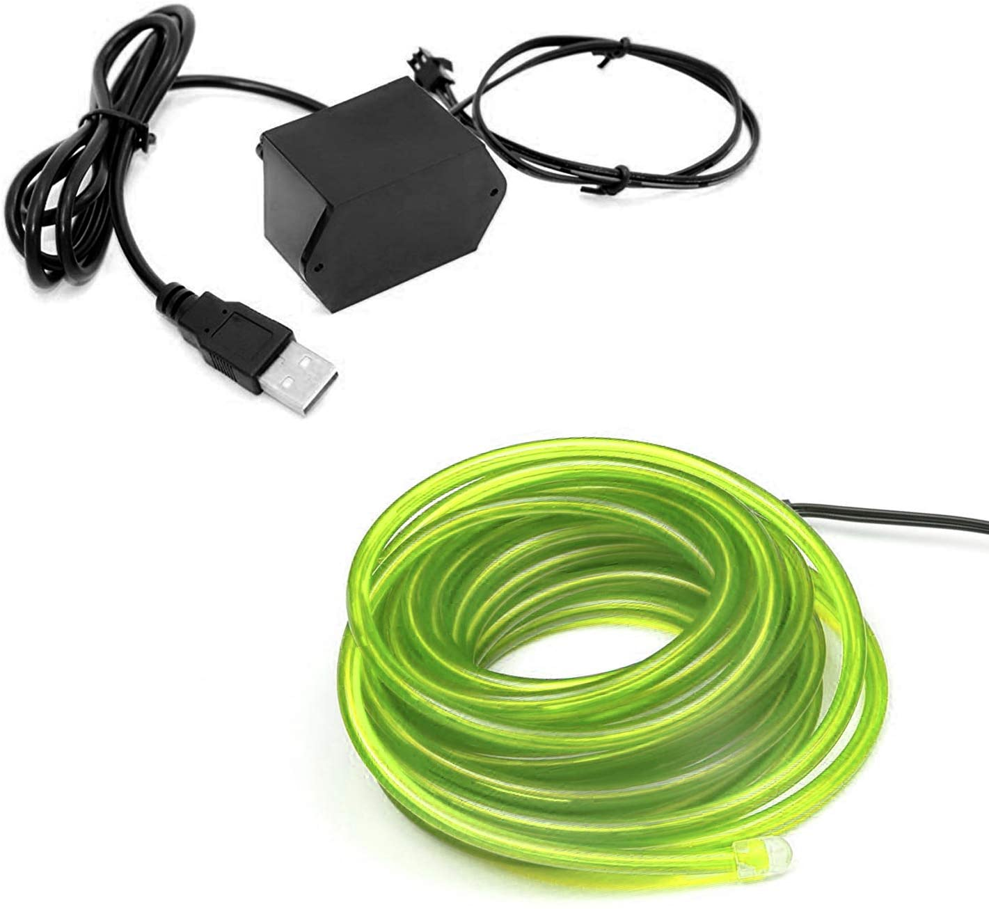 1-Pack 5m/16.4ft Lime Green Neon LED Light Glow EL Wire - 5 mm Thick - Powered by 12V USB Port - Craft Neon Wire String Light for DIY Project Costume Accessories Cosplay