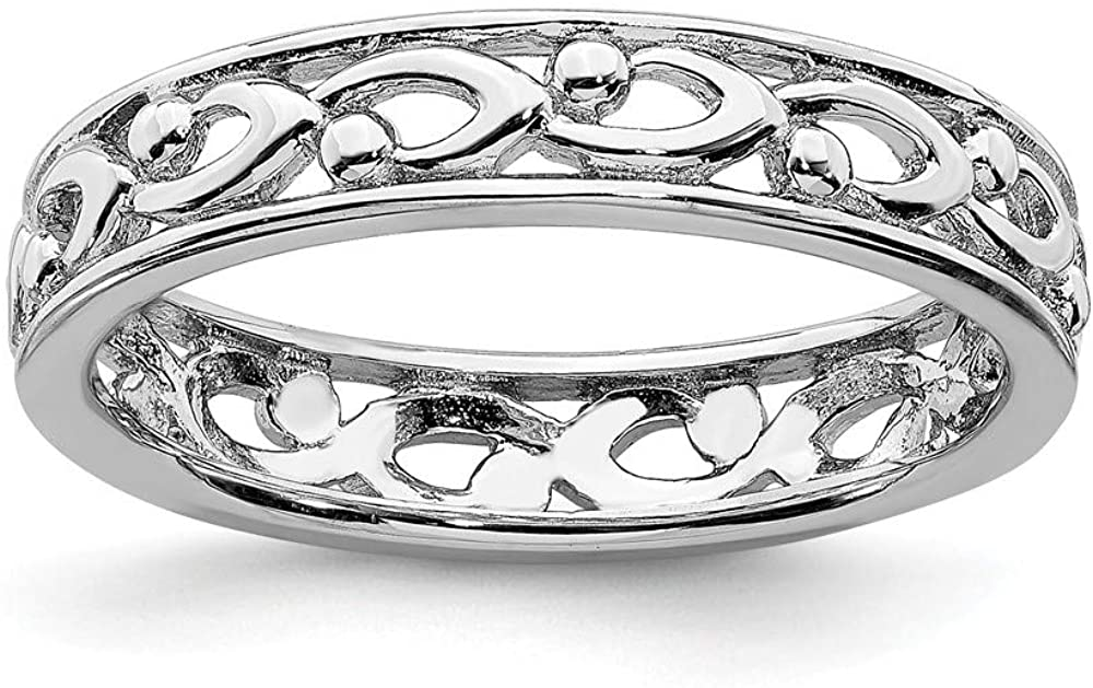 Solid 925 Sterling Silver Stackable Carved Ring Eternity Band