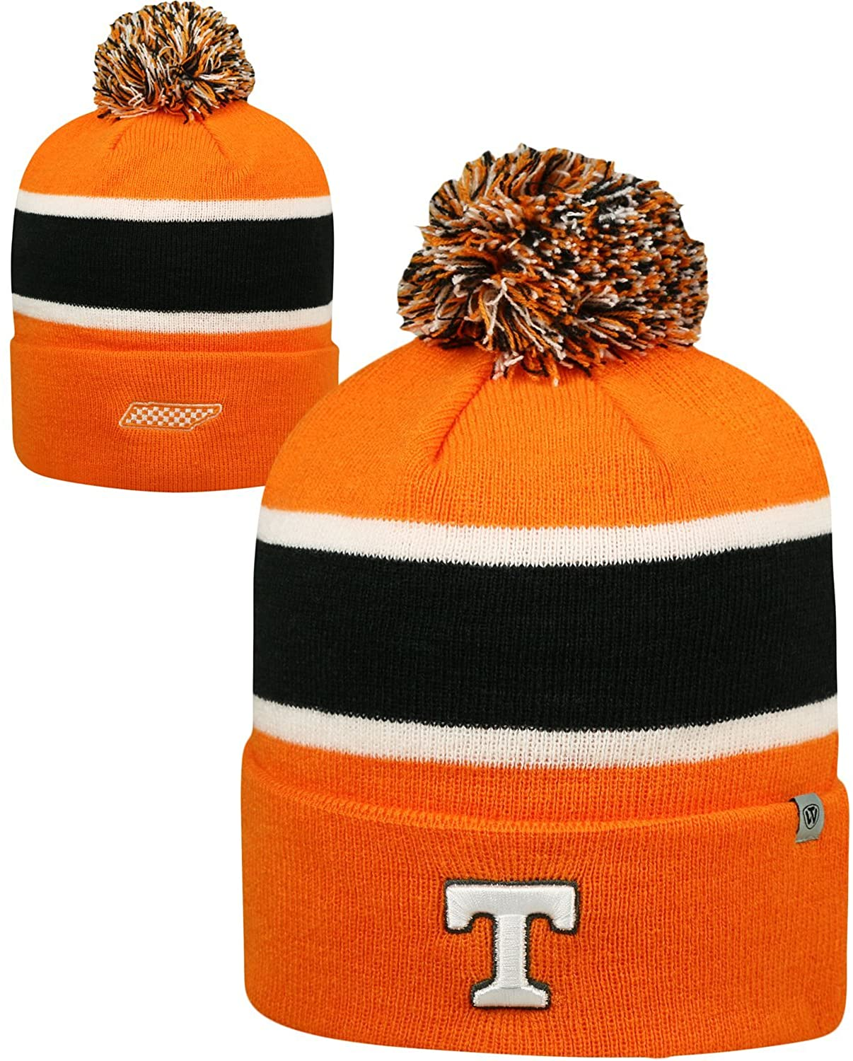 Top of the World Tennessee Volunteers Whirl Cuffed Pom Knit Beanie Hat/Cap