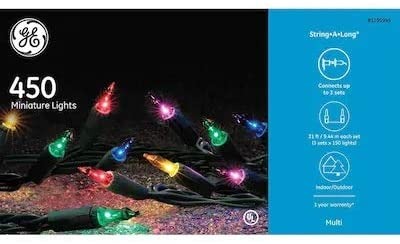 GE String-A-Long 450-Count Constant Multicolor Incandescent Christmas String Lights 60915LO