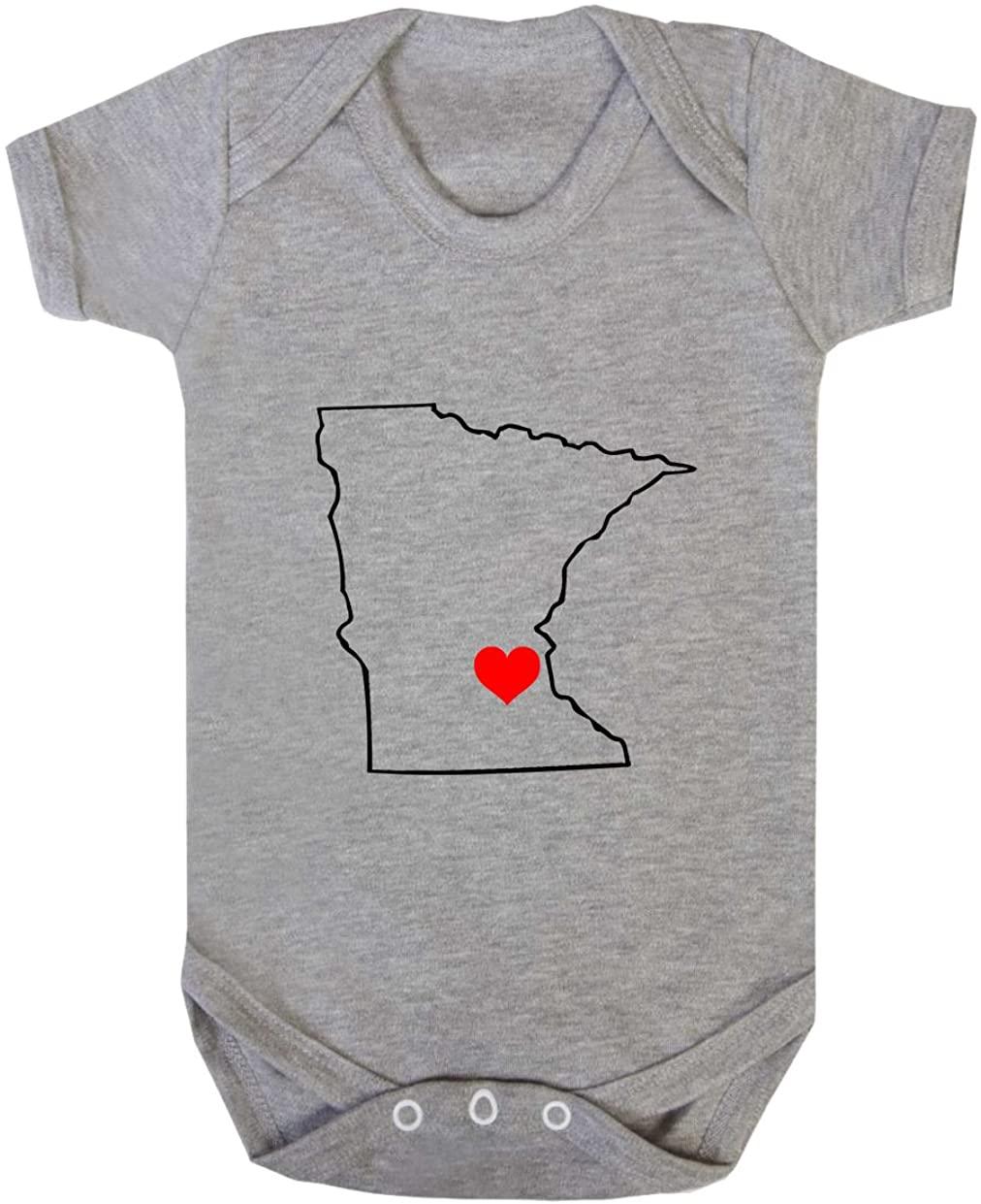 Minnesota Heart Love Baby Bodysuit One Piece Oxford Gray Newborn