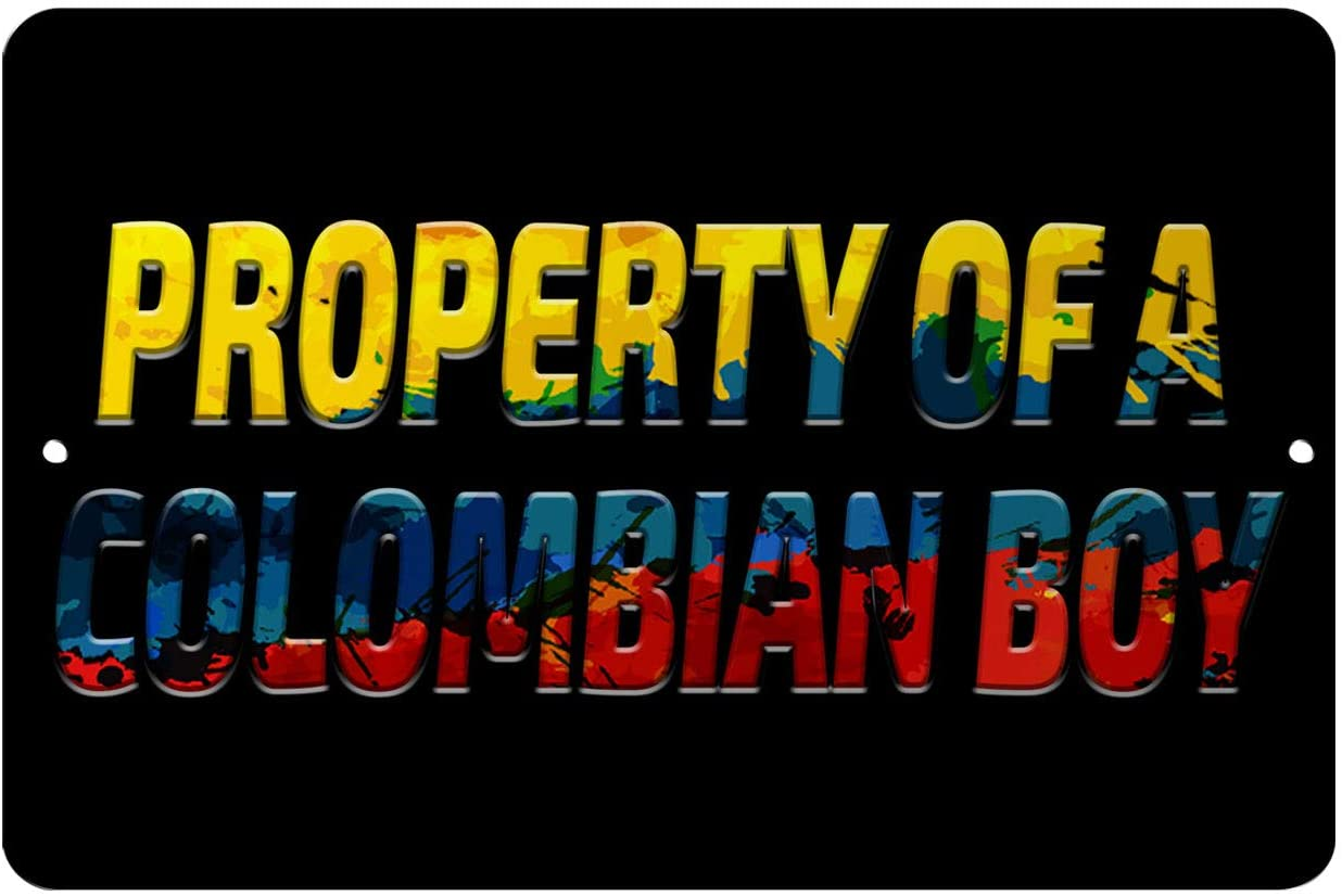 Makoroni - Property of A Colombian BOY Colombia Colombian 12x18 inc Aluminum Decorative Wall Street Sign