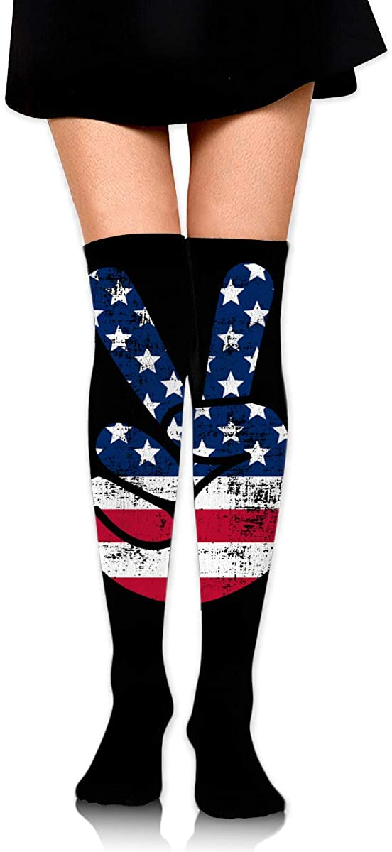 Knee High Socks Victory Sign Women's Athletic Over Thigh Long Stockings