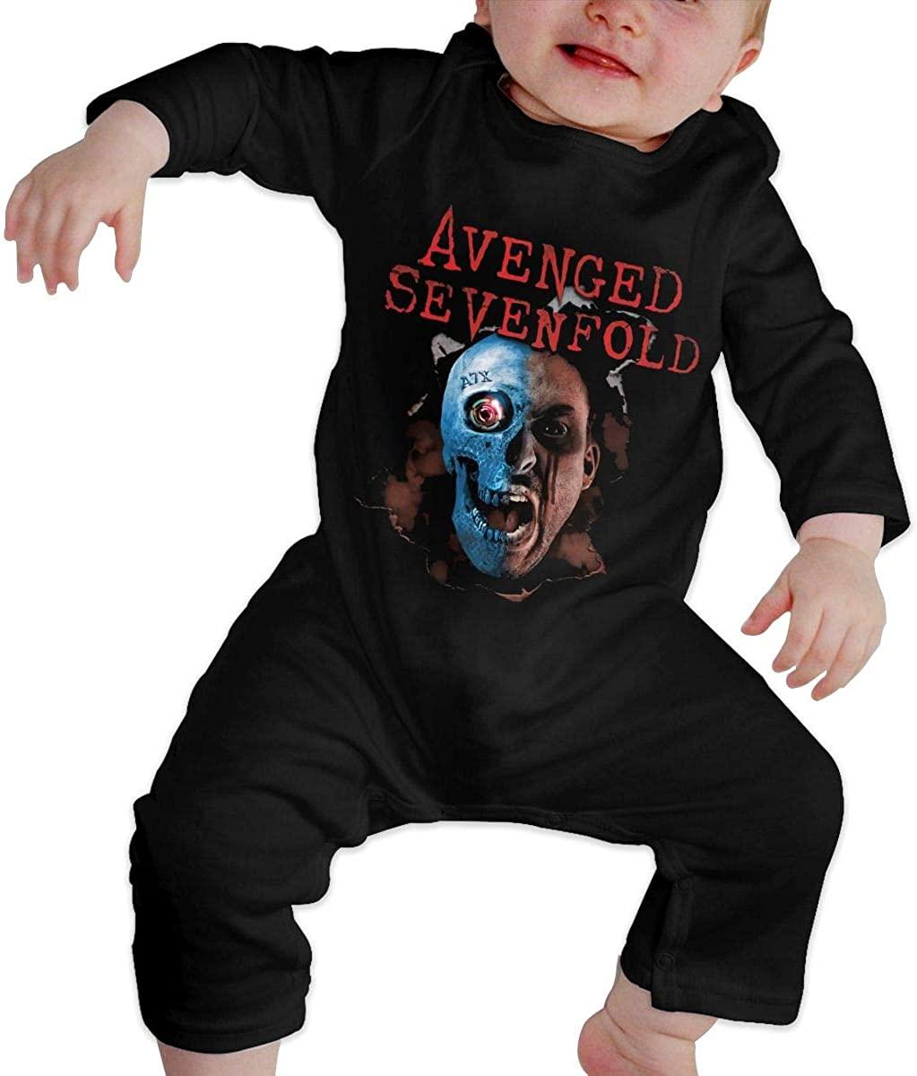 Watkinsmarket Avenged Sevenfold Baby Boy Girl Jumpsuit Jumpsuit Baby Newborn Cotton Long Sleeve Jumpsuit Black