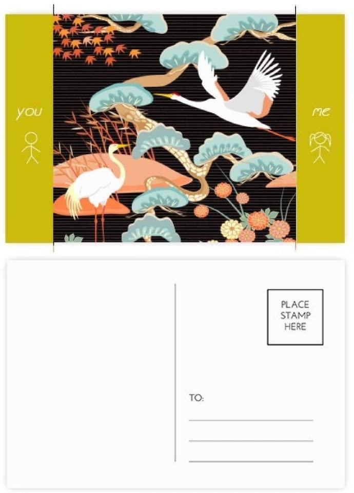 Cranes Peonies Maple Leaves Pattern Friend Postcard Set Thanks Card Mailing Side 20pcs