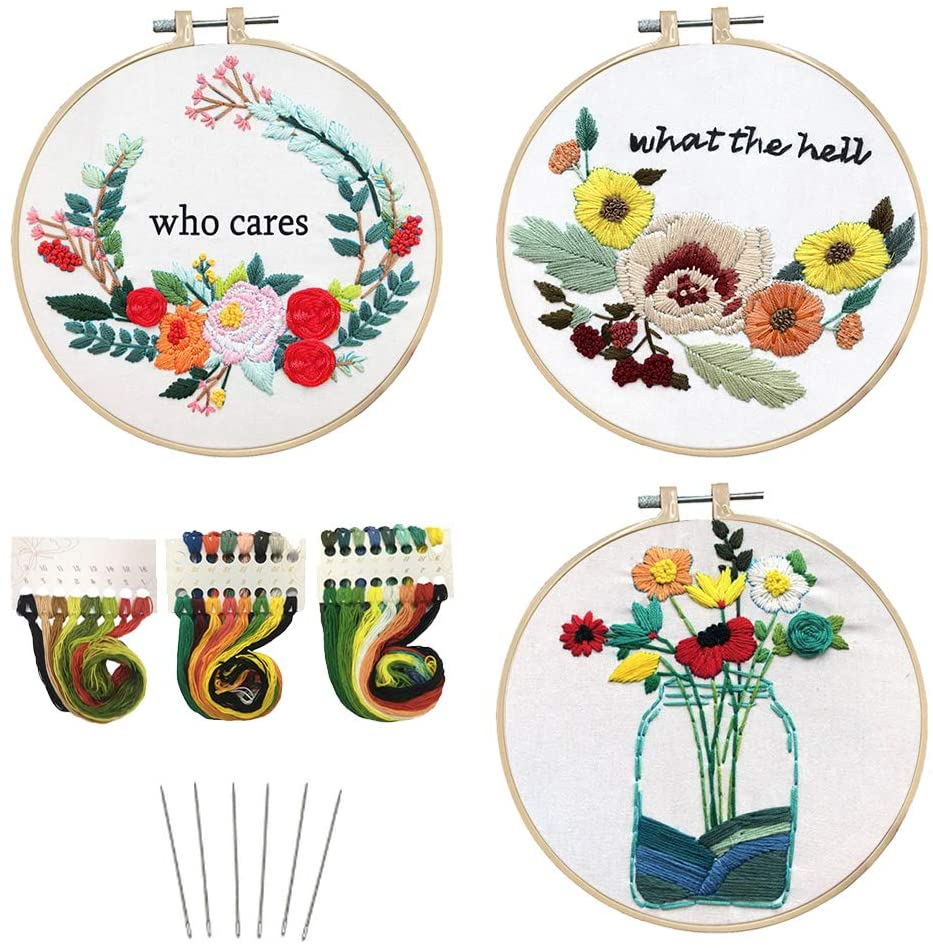 3 Sets Embroidery kit for Beginners Cross Stitch Kits Full Range Needlepoint Kits With Stamped Patterns For Adults As Gift or Home Decor