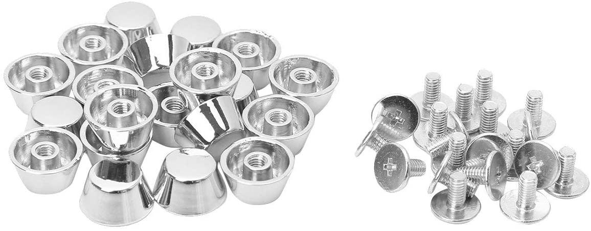 TiaoBug 20 Sets Leathercraft Flat Buckle Button Feet Nailheads Stud Spike DIY Purse Handbag Silver One Size