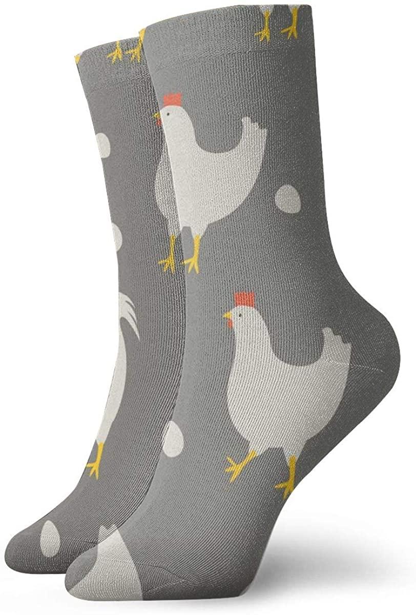 Rooster And Chicken Pattern Short Crew Socks Dress Socks Athletic Socks