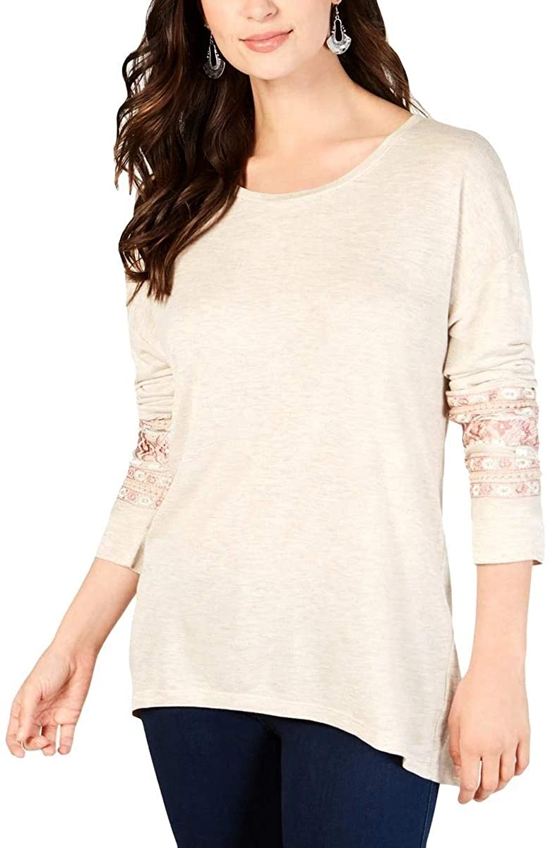 Style & Co. Womens Heathered Embellished Blouse Tan XL